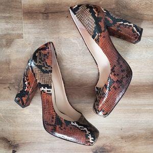 Nine West Snakeskin Square Toe Heels